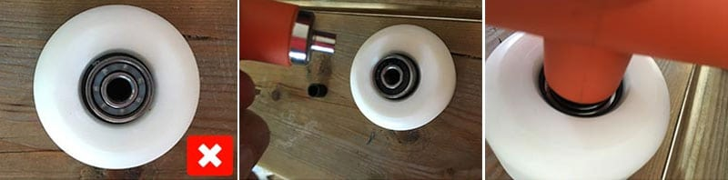 insert bearings and spacers into skateboard wheels