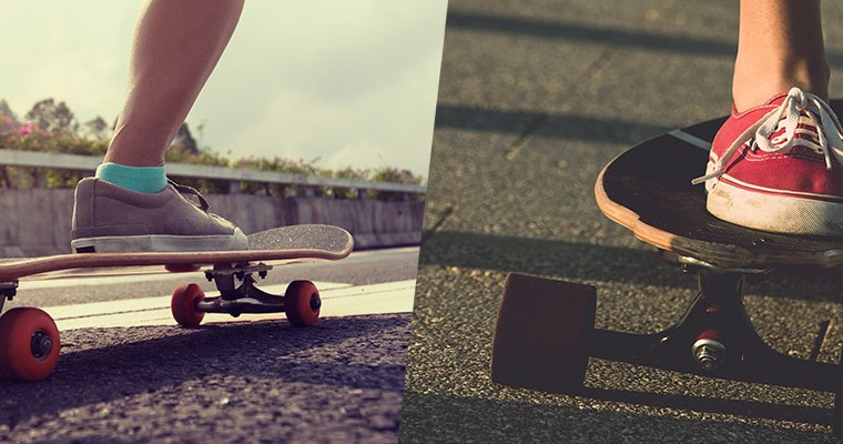 Longboarder and skateboarder